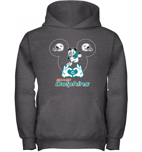 4szz i love the dolphins mickey mouse miami dolphins youth hoodie 43 front dark heather