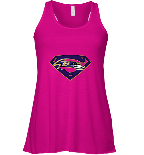 vnir we are undefeatable the baltimore ravens x superman nfl flowy tank 32 front neon pink