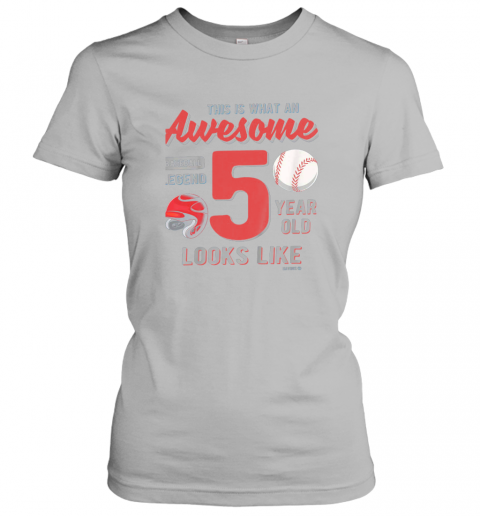 tqow kids 5th birthday gift awesome 5 year old baseball legend ladies t shirt 20 front sport grey
