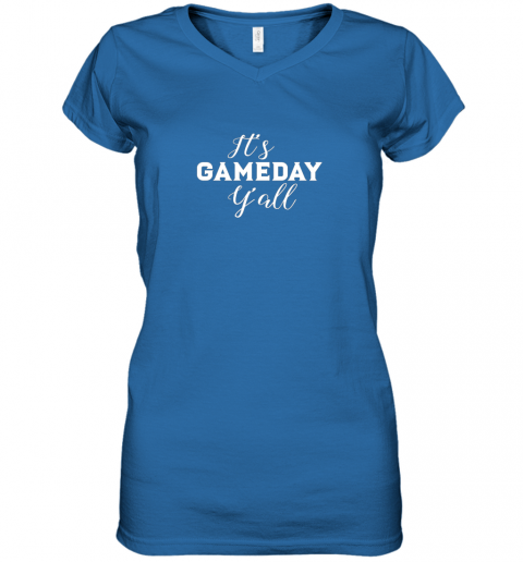 pyay it39 s game day y39 all football baseball basketball women v neck t shirt 39 front royal