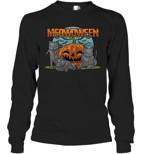 Kids Cat Halloween Costume Gift - Kitty Kitten Meowoween T-Shirt Long Sleeve T-Shirt