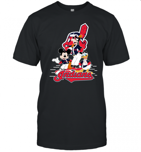 j8x3 cleveland indians mickey donald and goofy baseball jersey t shirt 60 front black