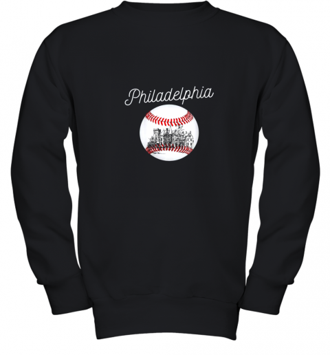 Philadelphia Baseball Philly Tshirt Ball and Skyline Design Youth Sweatshirt