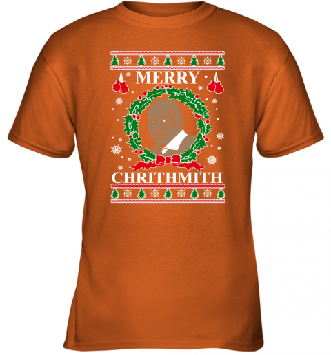 Merry Chrithmith Ugly Christmas Slouchy Off Shoulder Oversized Youth T-Shirt