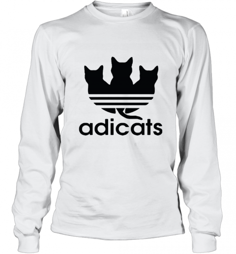 Adicats Three Black Cats Adidas Logo Mashup Long Sleeve T-Shirt