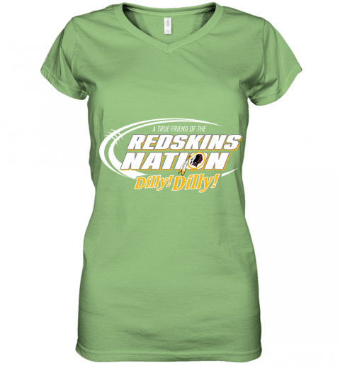 0tkq a true friend of the redskins nation women v neck t shirt 39 front lime