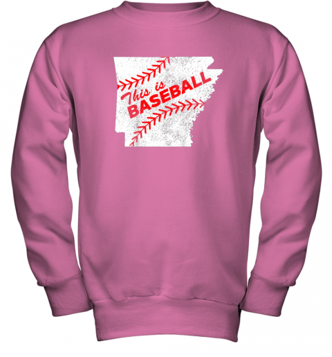 muv4 this is baseball arkansas with red laces youth sweatshirt 47 front safety pink