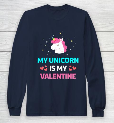Funny Valentines Day Shirt Unicorn Is My Valentine Long Sleeve T-Shirt 2
