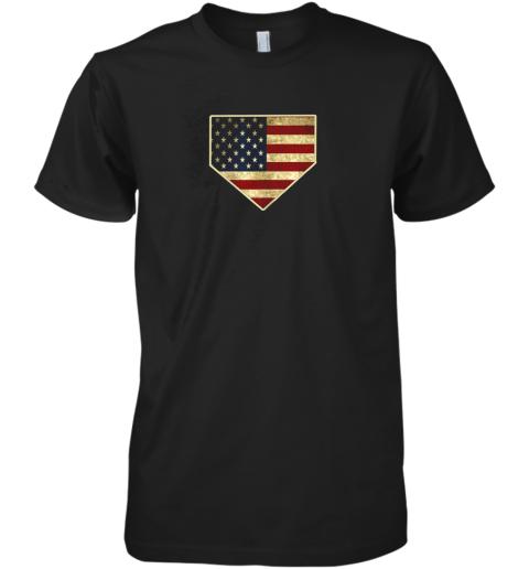 Vintage American Flag Baseball Shirt Home Plate Art Gift Premium Men's T-Shirt