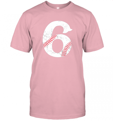 68a2 kids happy birthday 6th 6 year old baseball gift boys girls 2013 jersey t shirt 60 front pink
