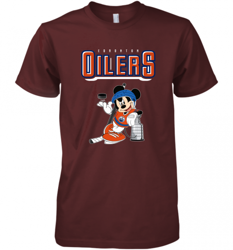 ozot mickey edmonton oilers with the stanley cup hockey nhl shirt premium guys tee 5 front maroon