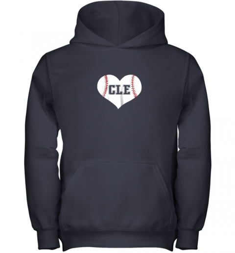 2q5b cleveland ohio baseball love heart cle gift jersey fan youth hoodie 43 front navy