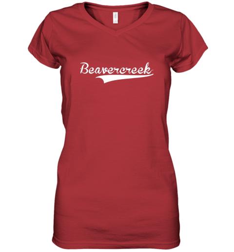 c0yn beavercreek baseball styled jersey shirt softball women v neck t shirt 39 front red
