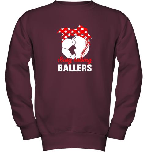 8dow busy raising a ballerfunny baseball soccer mom youth sweatshirt 47 front maroon