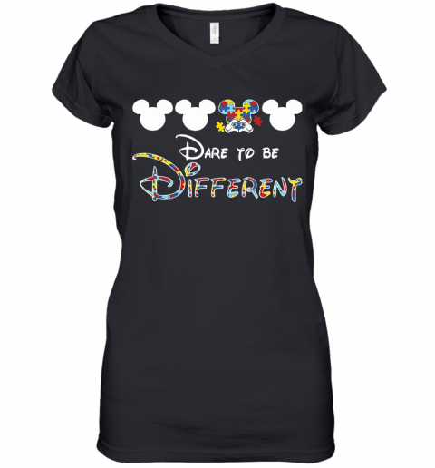 Mickey Mouse Autism Awareness Dare To Be Different Women's V-Neck T-Shirt