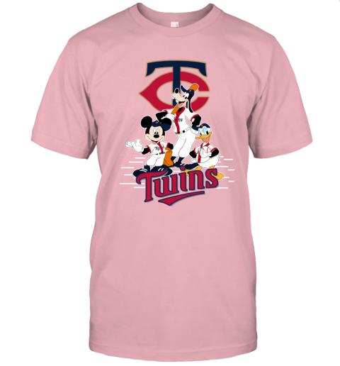 6xmw minnesota twins mickey donald and goofy baseball jersey t shirt 60 front pink