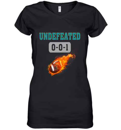 NFL MIAMI DOLPHINS LOGO Undefeated Women's V-Neck T-Shirt