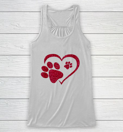 Paw Print Heart Dog Cat Owner Lover Girl Valentine Day Racerback Tank