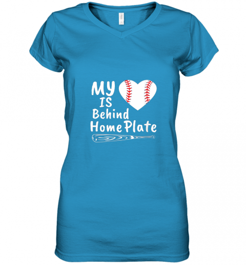 nfyv womens my heart is behind home plate baseball bat mom dad gift women v neck t shirt 39 front sapphire