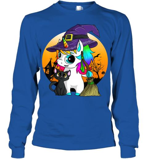 Unicorn Witch Halloween Black Cat Orange Moon Graphic Youth Long Sleeve
