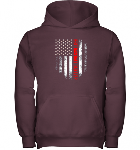 cque vintage usa best baseball dad ever american flag daddy gift youth hoodie 43 front maroon