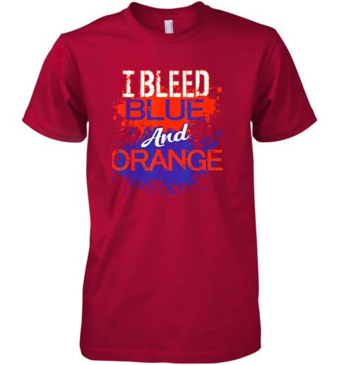 xkkv i bleed blue and orange fan shirt football soccer baseball premium guys tee 5 front red