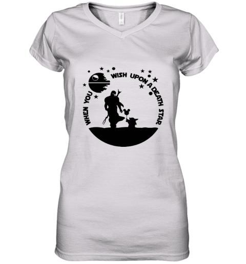 When You Wish Upon A Death Star The Mandalorian Baby Yoda Women's V-Neck T-Shirt