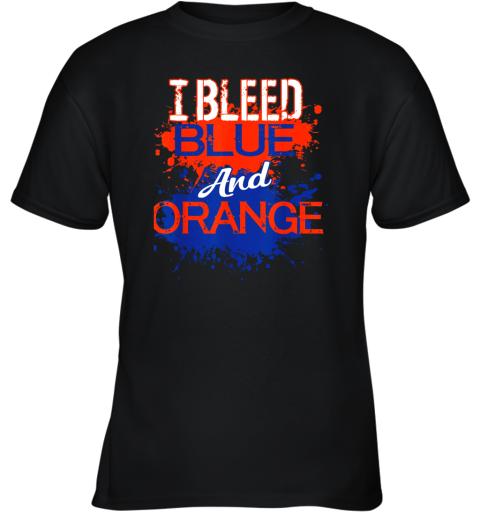 I Bleed Blue And Orange Fan Shirt Football Soccer Baseball Youth T-Shirt