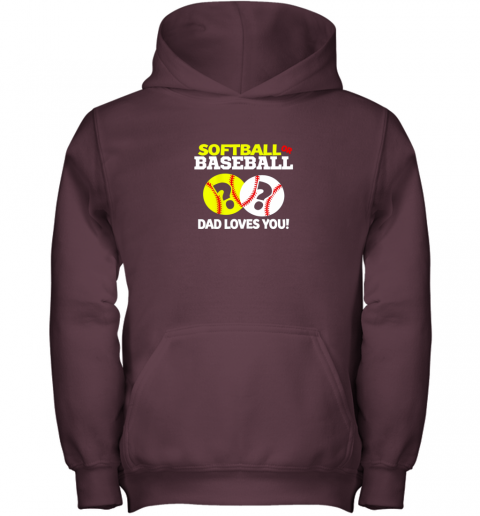 nj0y softball or baseball dad loves you gender reveal youth hoodie 43 front maroon