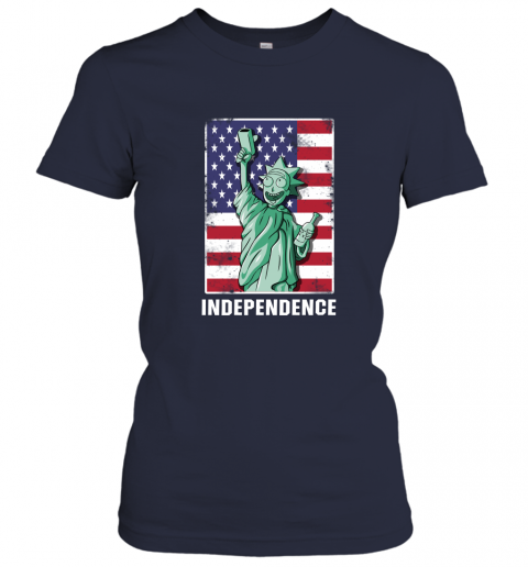 nzlr rick and morty statue of liberty independence day 4th of july shirts ladies t shirt 20 front navy