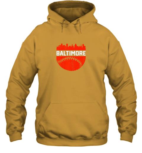 j82h vintage downtown baltimore maryland skyline baseball hoodie 23 front gold