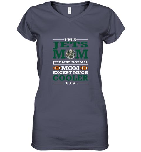 swqz i39 m a jets mom just like normal mom except cooler nfl women v neck t shirt 39 front heather navy
