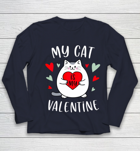 My Cat Is My Valentine Kitten Lover Heart Valentines Day Youth Long Sleeve 2