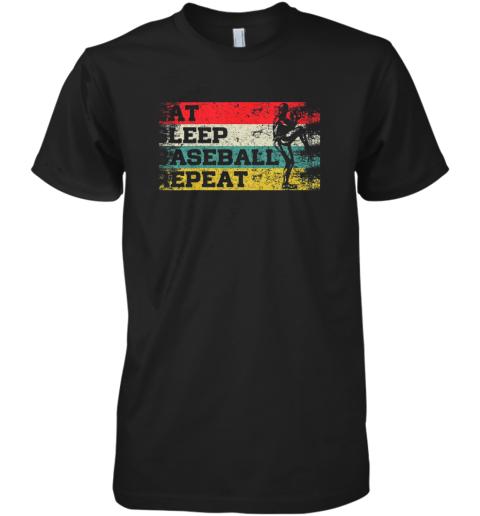 Vintage Retro Eat Sleep Baseball Repeat Funny Sport Player Premium Men's T-Shirt