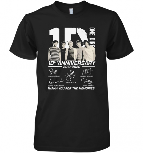 One Direction 10Th Anniversary 2010 2020 Thank For The Memories Signatures Premium Men's T-Shirt