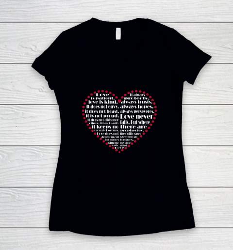 Love is patient love is kind Valentine Hearts Valentines day Women's V-Neck T-Shirt