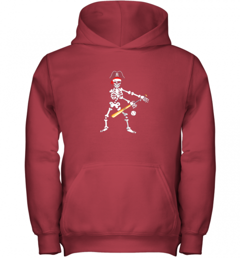 5jxj skeleton pirate floss dance with baseball shirt halloween youth hoodie 43 front red