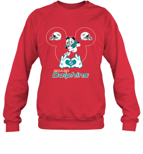 uqpy i love the dolphins mickey mouse miami dolphins sweatshirt 35 front red