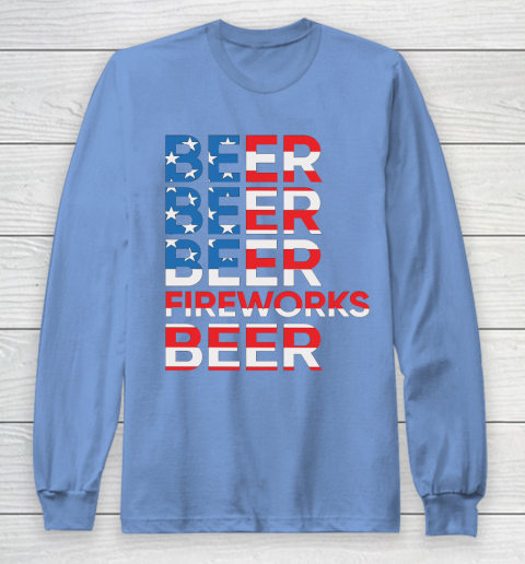Beer Lover Funny Shirt Beer Fireworks 4th Of July Long Sleeve T-Shirt 8