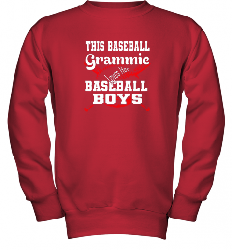 x2yv this baseball grammie loves her baseball boys youth sweatshirt 47 front red
