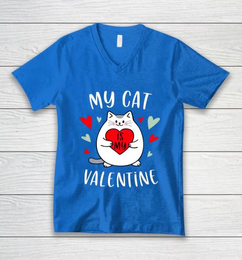 My Cat Is My Valentine Kitten Lover Heart Valentines Day V-Neck T-Shirt 5