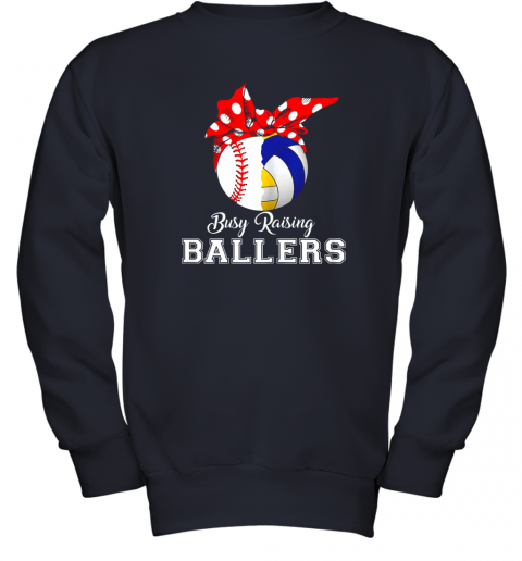 uisy baseball volleyball busy raising ballers shirt mothers day youth sweatshirt 47 front navy