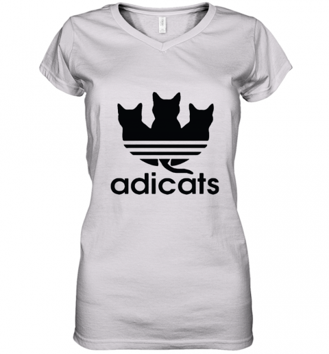 Adicats Three Black Cats Adidas Logo Mashup Women's V-Neck T-Shirt