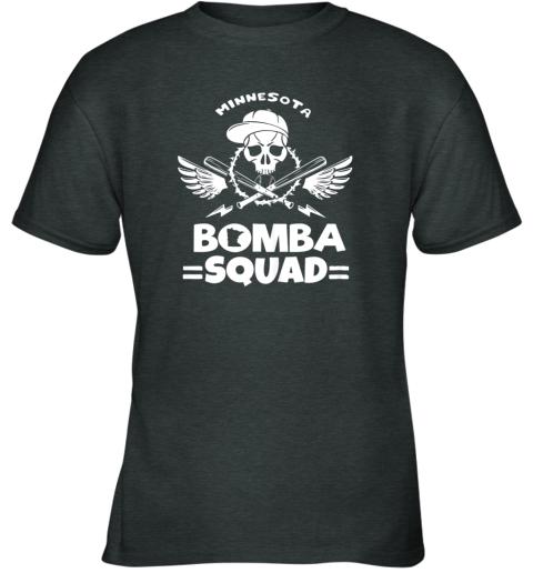 w1aw bomba squad twins shirt minnesota baseball men bomba squad youth t shirt 26 front dark heather