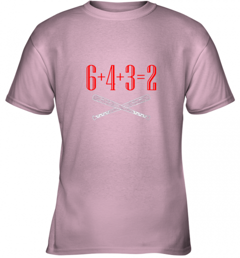 thrj funny baseball math 6 plus 4 plus 3 equals 2 double play youth t shirt 26 front light pink