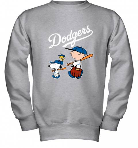 fjh0 los angeles dodgers lets play baseball together snoopy mlb shirt youth sweatshirt 47 front sport grey