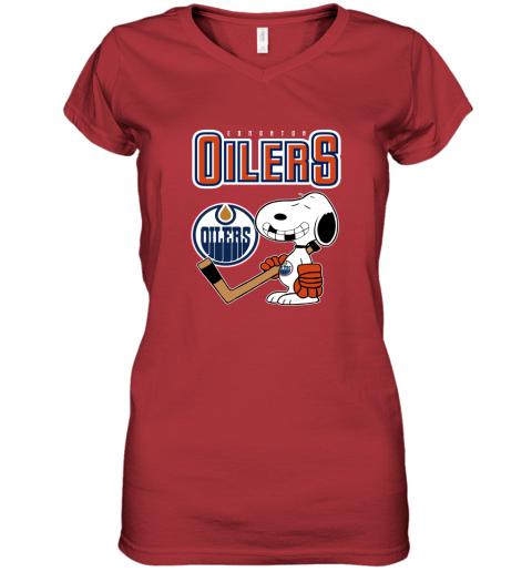 vmly edmonton oilers ice hockey broken teeth snoopy nhl shirt women v neck t shirt 39 front red
