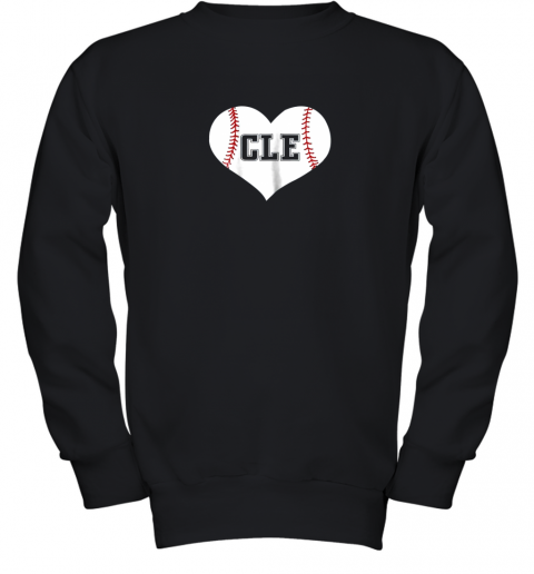 Cleveland Ohio Baseball Love Heart CLE Gift Jersey Fan Youth Sweatshirt