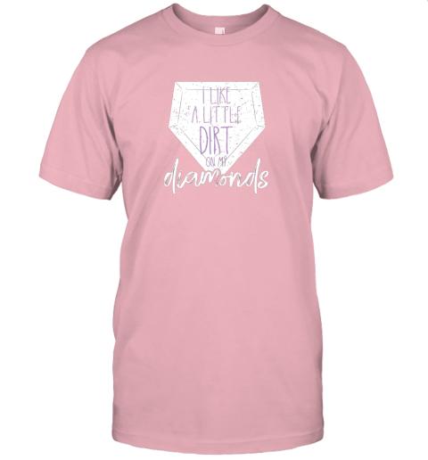ijnu i like a little dirt on my diamonds baseball jersey t shirt 60 front pink