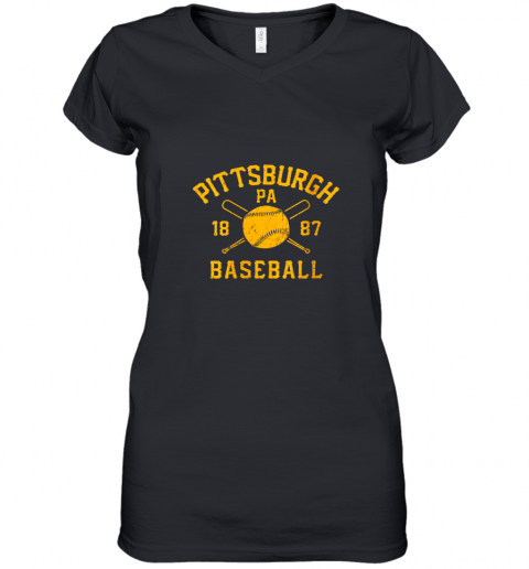 Vintage Pittsburgh Baseball Pennsylvania Pirate Retro Gift Women's V-Neck T-Shirt